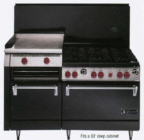 "Black 59"" Six Burners & 22"" Manual Raised Griddle"